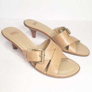 """Audrey Brooke tan sandals 2.5"""" heel"""